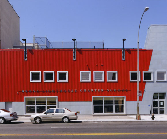 facade of elementary charter school design and adaptive reuse project by school architecture firm Gran Kriegel in NYC