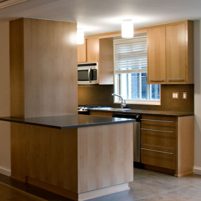 view of kitchen in apartment interior design architecture project for developers in NYC by Gran Kriegel Architects