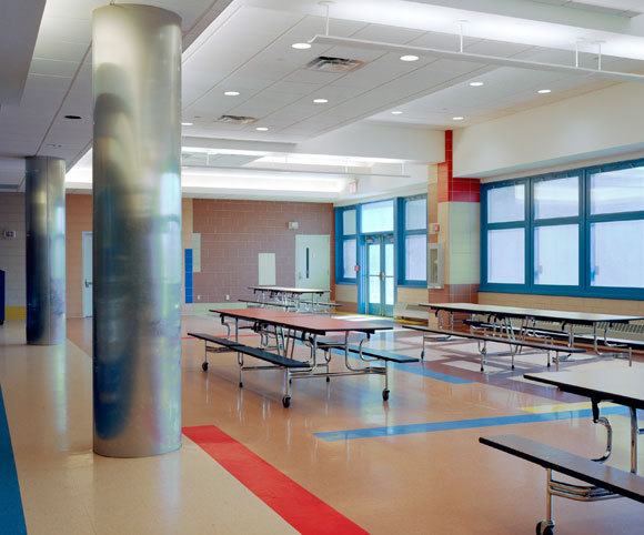 cafeteria design for schools in NYC by Gran Kriegel Architects for new school building construction