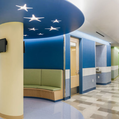 Corridor seating at YAI Manhattan Star Academy interior retrofit special needs school design by Gran Kriegel Architects in nyc