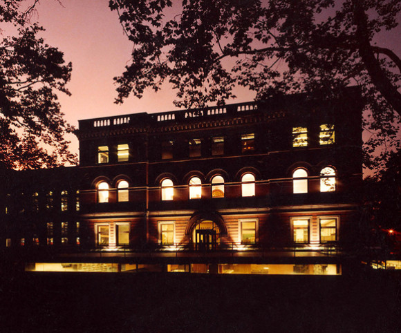 night view of college library renovation design project by Gran Kriegel Architects