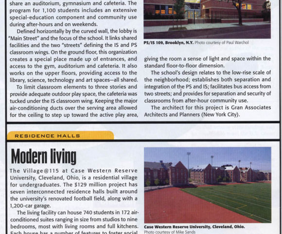 K-12 School Designed by Gran Kriegel Architects in NYC shown in American School and University magazine