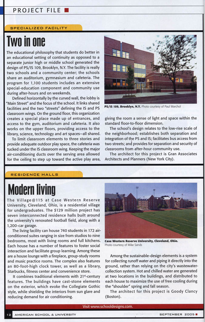 Gran Kriegel Architects in the press - PS 109 new school construction design in School and University magazine