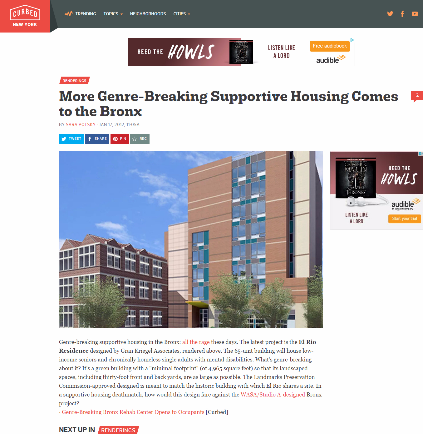 Gran Kriegel Architects new supportive housing design for Volunteers of America is featured in the NY Post