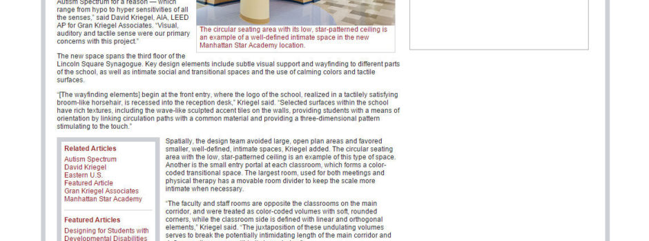 Gran Kriegel's design for Manhattan Star Academy, a special needs school in NYC, is featured in School Construction News