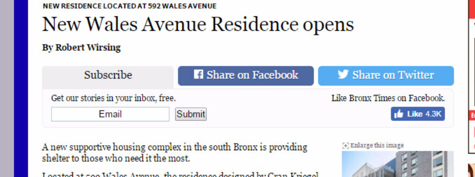 Gran Kriegel Architects supportive housing design featured in the Bronx Times