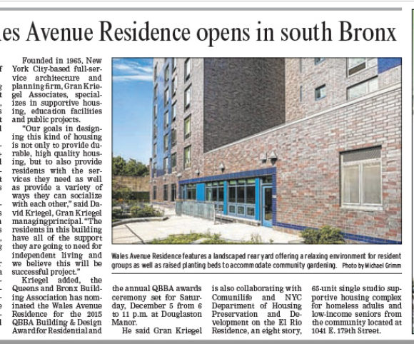 New supportive housing development in NYC featured in NY Post