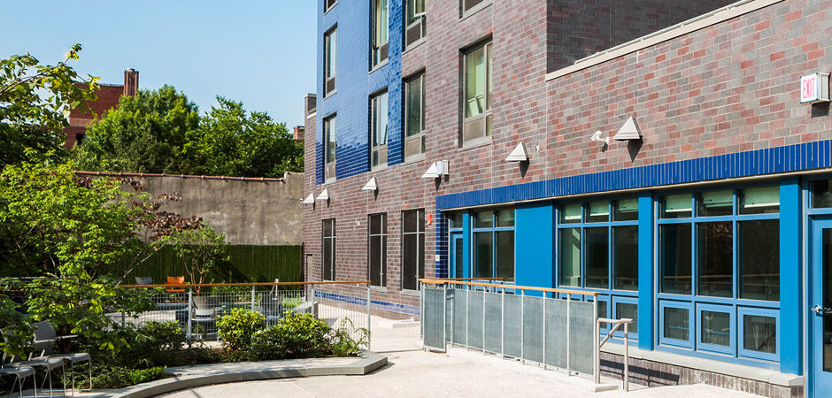 Back yard of new supportive affordable housing development in NYC by Gran Kriegel Architects