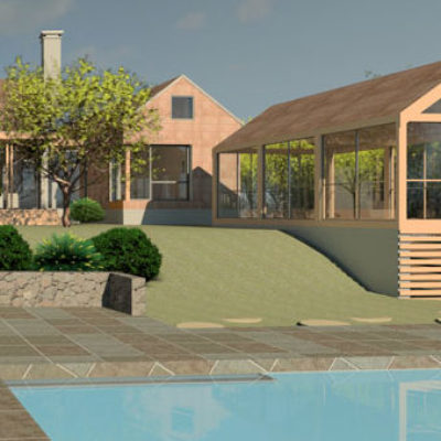 Home Design Backyard with Pool Render