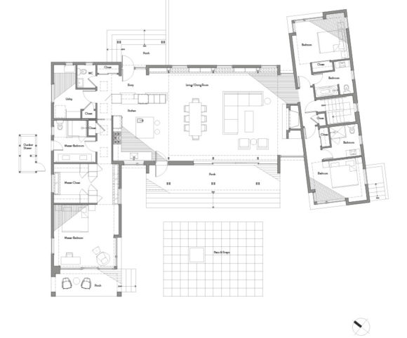 Floorplan of new house under construction in Shelter Island, NY, by Gran Kriegel Architects