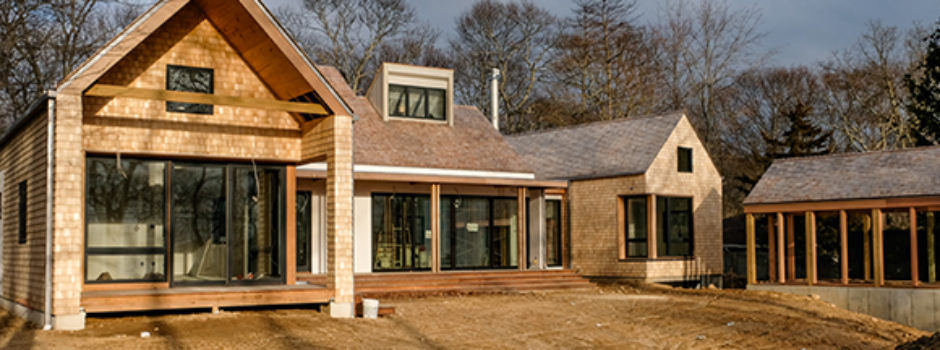 A new house under construction on Shelter Island, NY, designed by Gran Kriegel Architects