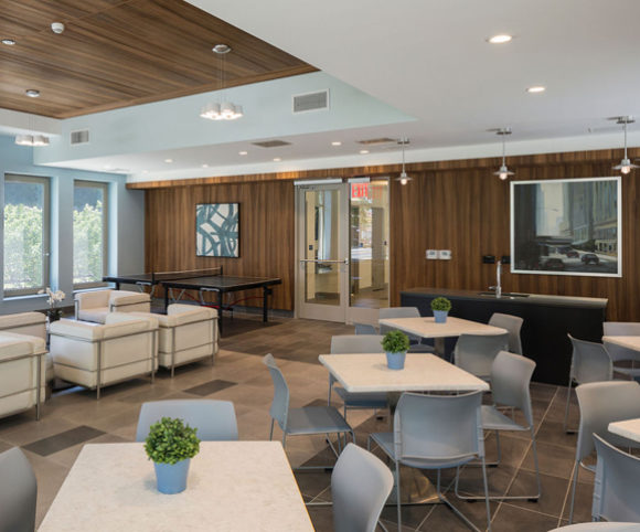 Community Room Interior of Affordable Housing Marine Terrace in NYC by Gran Kriegel Architects